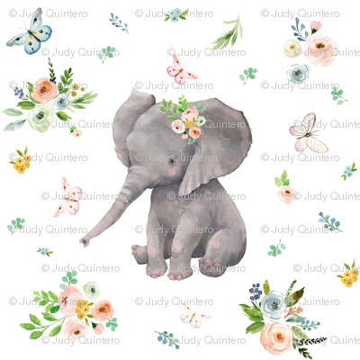 """4""""  Spring Time Baby Elephant"""