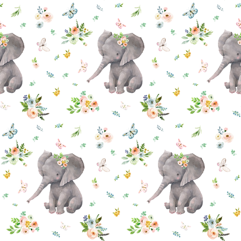 "4""  Spring Time Baby Elephant fabric by shopcabin on Spoonflower - custom fabric"