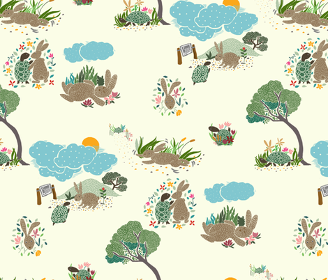 THE TURTLE_AND_THE_HARE fabric by yasminah_combary on Spoonflower - custom fabric