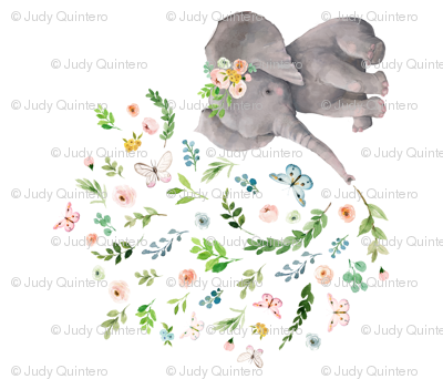 """42""""x36"""" Spring Time Baby Elephant"""