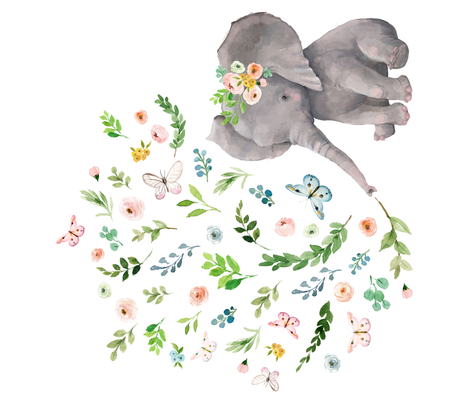 """42""""x36"""" Spring Time Baby Elephant fabric by shopcabin on Spoonflower - custom fabric"""
