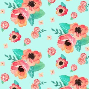 Summer Floral - Coral & Peach Flowers (on aqua) Garden Blooms Baby Girl Nursery GingerLous B