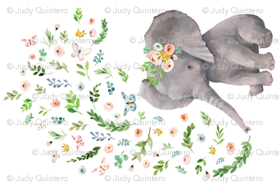 """54""""X36"""" FLORAL BABY ELEPHANT"""