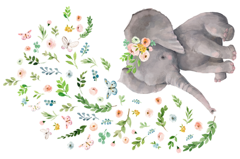"""54""""X36"""" FLORAL BABY ELEPHANT fabric by shopcabin on Spoonflower - custom fabric"""