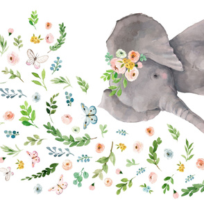 "56""X36"" FLORAL BABY ELEPHANT"