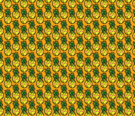 aloha pineapple on orange fabric by alohababy on Spoonflower - custom fabric