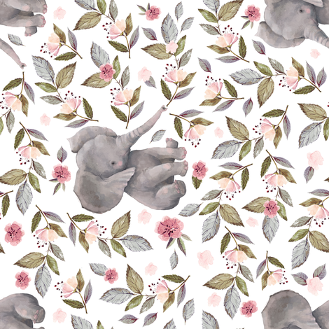 "8"" Baby Elephant with Flowers/ NO CROWN /90 degrees fabric by shopcabin on Spoonflower - custom fabric"