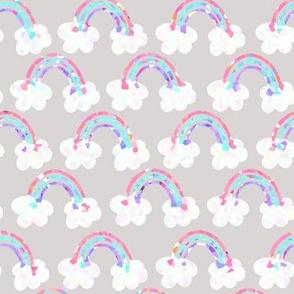 rainbows everywhere - grey