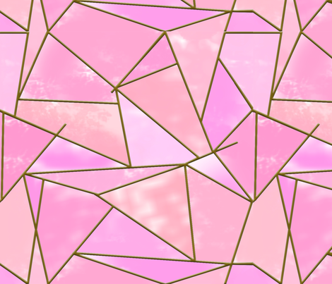 stained glass geometric pink BIG fabric by elysium_design on Spoonflower - custom fabric