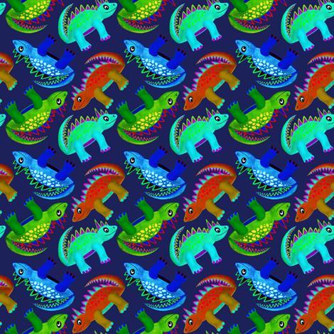 Dino Boys Navy (Red, Blue & Green) fabric by stephaniecolecreations on Spoonflower - custom fabric