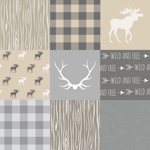 Moose Quilt - grey, tan - Rustic Woodland-no  'Little man'