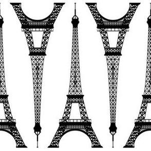 Six Inch Black Eiffel Towers on White
