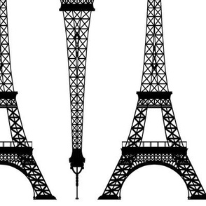 Twelve Inch Black Eiffel Towers on White