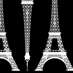 Twelve Inch White Eiffel Towers on Black