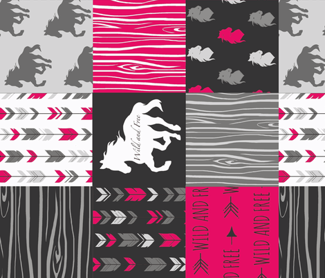Wild and Free Horses - Fuchsia, Black And Grey - ROTATED fabric by sugarpinedesign on Spoonflower - custom fabric