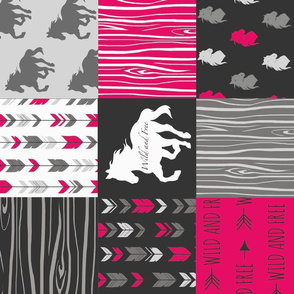 Wild and Free Horses - Fuchsia, Black And Grey - ROTATED