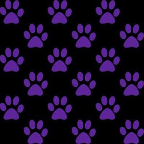 One Inch Purple Paw Prints on Black