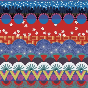Japanese tribal Kabuki pattern. Zig zag triangles circles cherry blossom red blue gold pink white teal colors