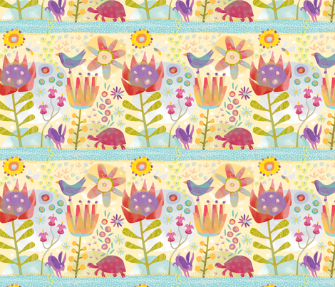 Hare and Tortoise by Mount Vic and Me fabric by mountvicandme on Spoonflower - custom fabric
