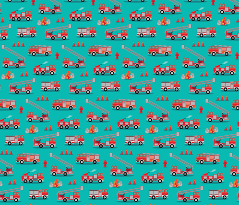 Fire Engine Scatter - Mint fabric by samalah on Spoonflower - custom fabric