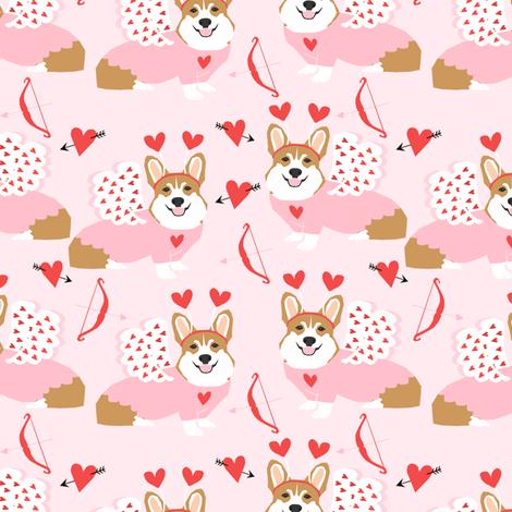 corgi love bug welsh corgi valentines cupid costume pink fabric by petfriendly on Spoonflower - custom fabric