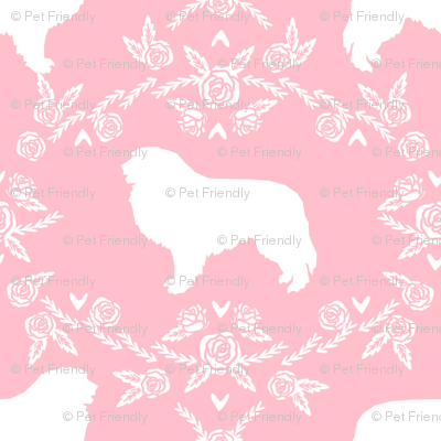 great pyrenees silhouette floral dog breed fabric pink