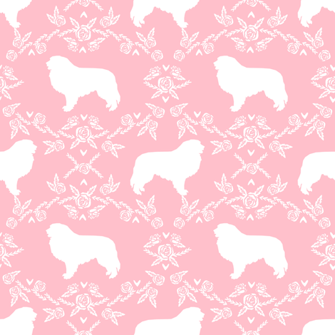 great pyrenees silhouette floral dog breed fabric pink fabric by petfriendly on Spoonflower - custom fabric