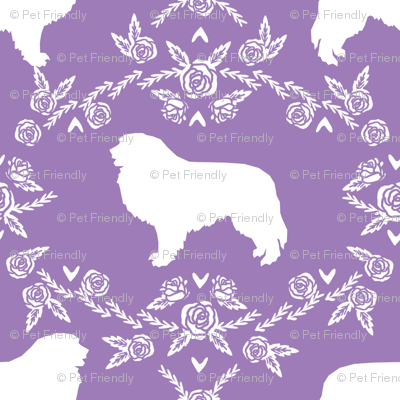 great pyrenees silhouette floral dog breed fabric purple