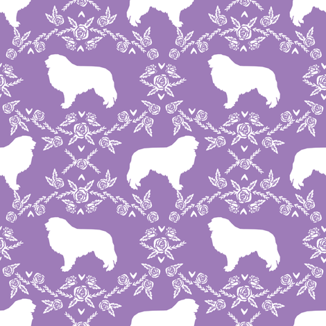 great pyrenees silhouette floral dog breed fabric purple fabric by petfriendly on Spoonflower - custom fabric