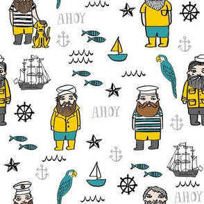 sailor // nautical sailboat ocean sailors captain kids room fun fabric white mustard