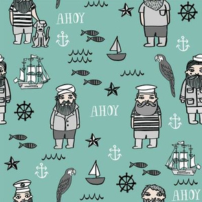 sailor // nautical sailboat ocean sailors captain kids room fun fabric mint
