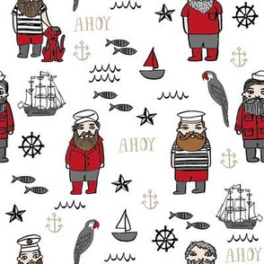 sailor // nautical sailboat ocean sailors captain kids room fun fabric white red