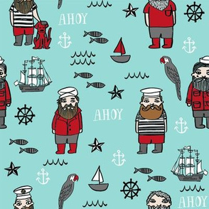 sailor // nautical sailboat ocean sailors captain kids room fun fabric lite blue