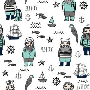 sailor // nautical sailboat ocean sailors captain kids room fun fabric white mint