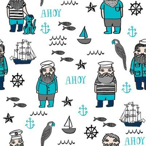sailor // nautical sailboat ocean sailors captain kids room fun fabric white turquoise