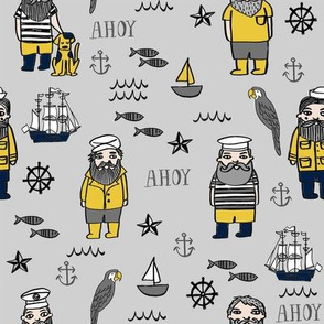 sailor // nautical sailboat ocean sailors captain kids room fun fabric grey