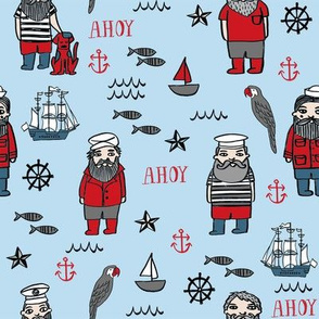 sailor // nautical sailboat ocean sailors captain kids room fun fabric blueish