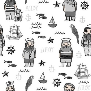 sailor // nautical sailboat ocean sailors captain kids room fun fabric white grey