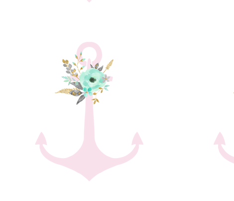 Mint Floral Pink anchor  fabric by graceandcruzdesigns on Spoonflower - custom fabric