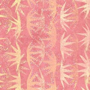 Cactus Stars Batik Gold on Pink 150