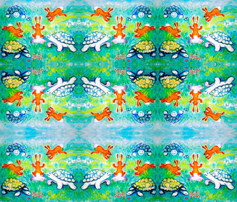 The Tortoise and the Hare fabric by hot_office on Spoonflower - custom fabric