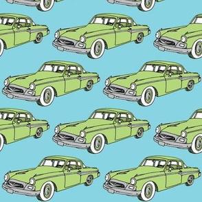 Nifty Fifties green 1955 Studebaker on blue