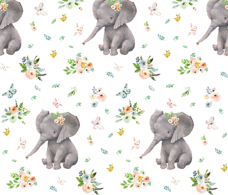 """10"""" Spring Time Baby Elephant fabric by shopcabin on Spoonflower - custom fabric"""