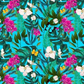 "4"" Love Summer Florals & Tropical Leaves - Aqua"