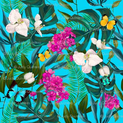 """8"""" Love Summer Florals & Tropical Leaves - Aqua"""