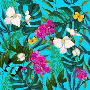 "8"" Love Summer Florals & Tropical Leaves - Aqua"