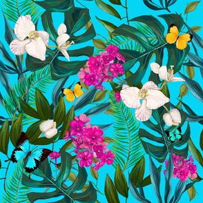 "21"" Love Summer Florals & Tropical Leaves - Aqua"