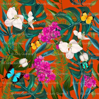 "8"" Love Summer Florals & Tropical Leaves - Bright Orange"