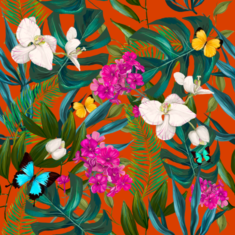 """8"""" Love Summer Florals & Tropical Leaves - Bright Orange fabric by shopcabin on Spoonflower - custom fabric"""
