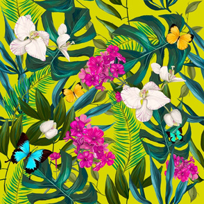 "21"" Love Summer Florals & Tropical Leaves - Bright Yellow"